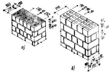 Сплошная кладка из мелких блоков с пустотами