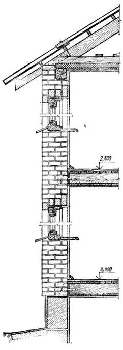 Разрез по кирпичной стене двухэтажного дома