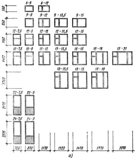 Схемы типовых оконных блоков
