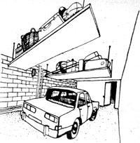 использование пространства под потолком гаража для укладки вещей