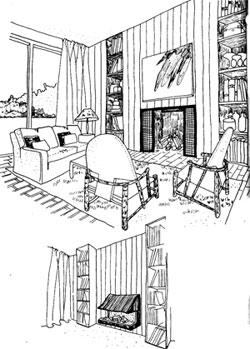интерьер комнаты с камином различной конструкции