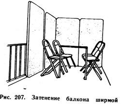 затемнение балкона ширмой