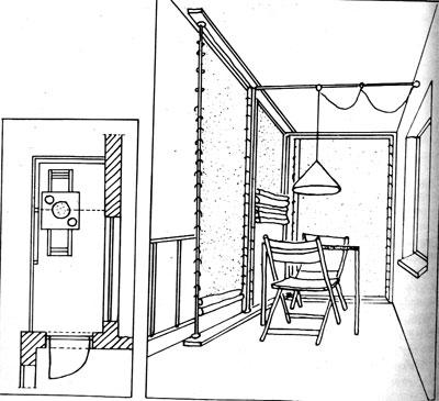 затенение открытого с двух сторон балкона