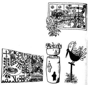 рельефные и скульптурные украшения мини-сада