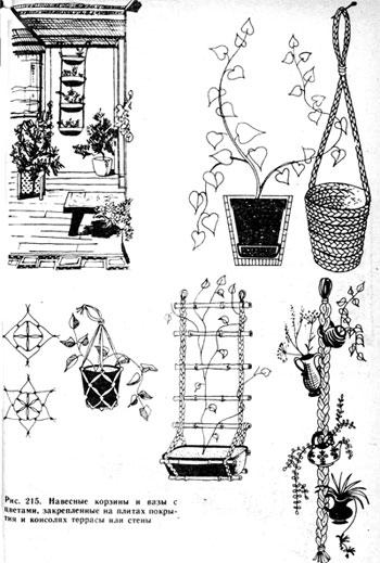 навесные корзины и вазы с цветами, закрепленные на плитах