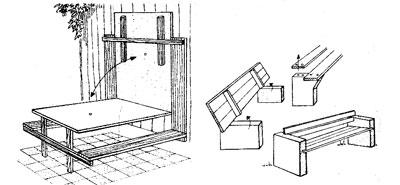 садовая скамья на бетонных опорах
