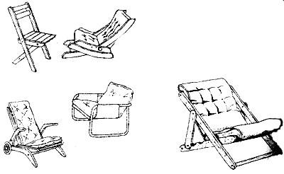 стулья, простейшие кресла и скамейки для сада и террасы