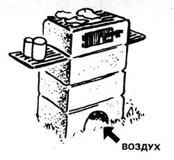 гриль из полых бетонных блоков