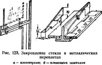 Закрепление стекла в металлических переплетах